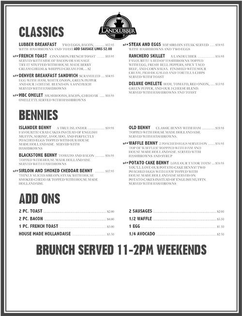 brunch menu at the landlubber pub in Nanaimo