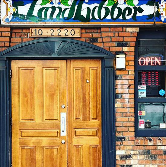 front door at landlubber pub in nanaimo, bc
